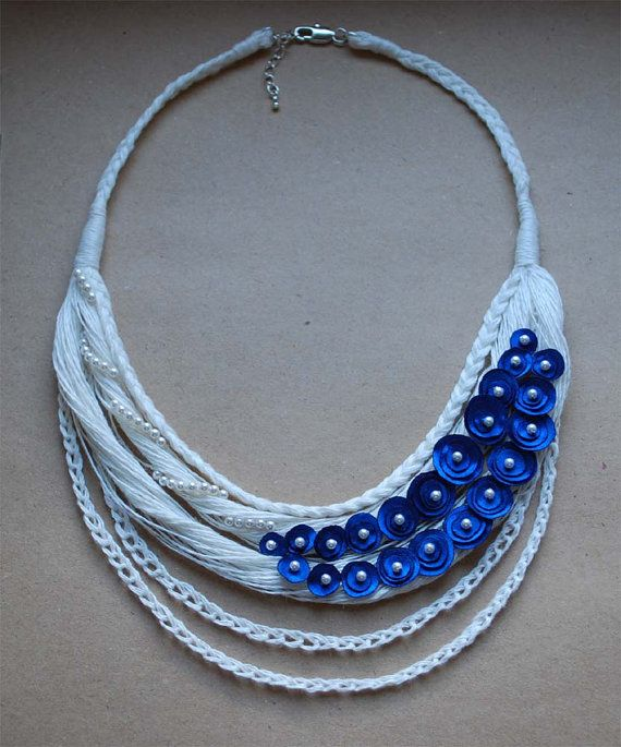 Linen Necklace . FLORA. Off White and Blue. READY to ship