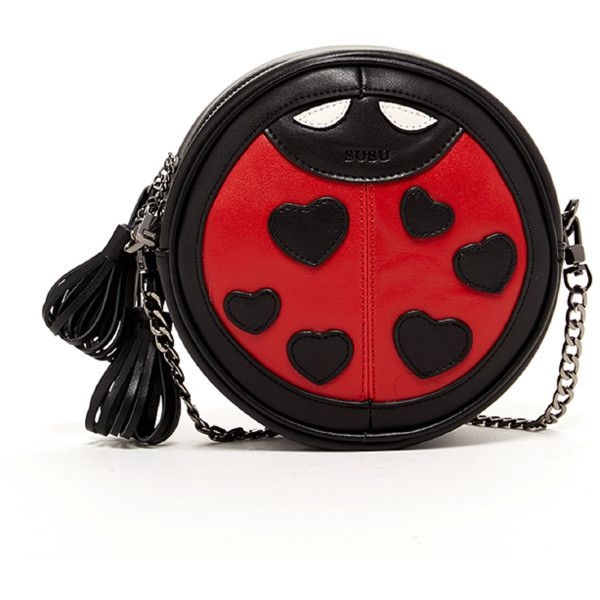 Susu 'mary' Ladybug Crossbody Leather (£79) ❤ liked on Polyvore featuring bags, handbags, shoulder bags, red, leather over the shoulder bags, leather cross body purse, leather crossbody, red leather purse and red leather shoulder bag
