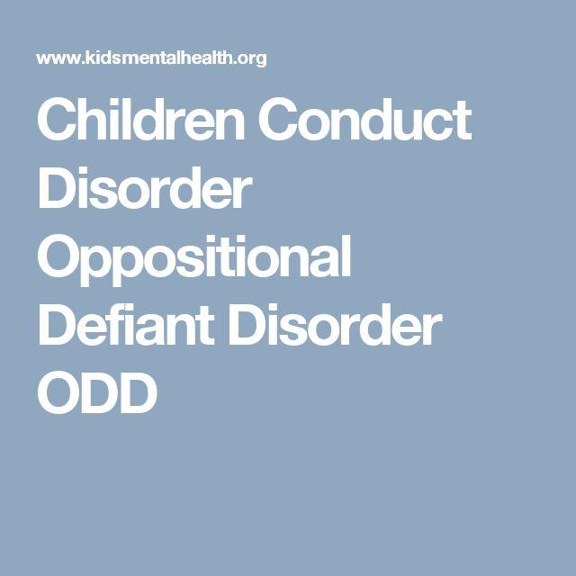 Children Conduct Disorder Oppositional Defiant Disorder ODD