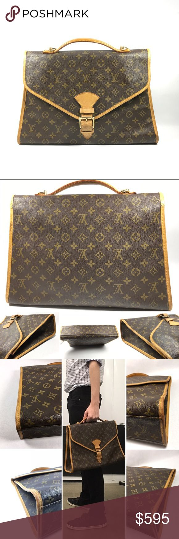 Authentic Louis Vuitton Briefcase No lowballing no trade. Made in France S#SL0923 Gently used vintage condition with some visible signs of use on the exterior  Monogram canvas shows white rub marks on some areas, light color fading. Leather trim/piping shows rubbing, patina & visible cracks. Patina, water marks, creases & rubbing on leather closure. Cracks near sizing hole. Hardware shows tarnishing.  Interior lining shows white stains at the bottom, snags and creases. Leather trim has…