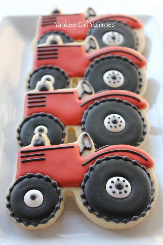 decorated tractor cookies