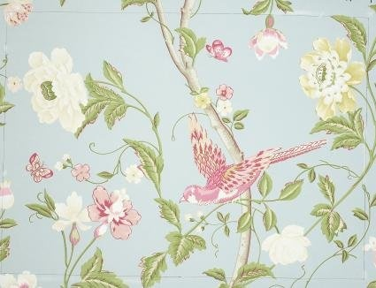 Papel de pared estampado summer palace azul verdoso - Laura ashley papel pintado ...