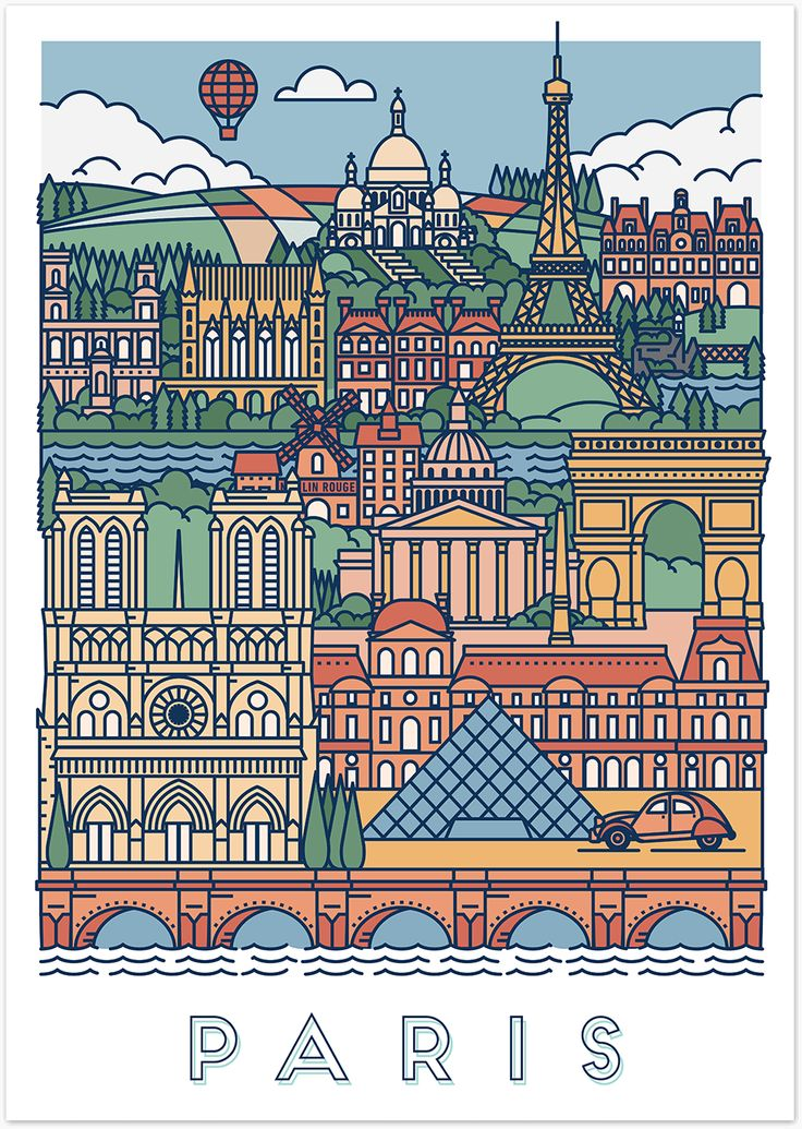 Et voilà, Paris, in all its glory. This graphical poster is decorated with famous Parisien icons and treasures of the highest order.