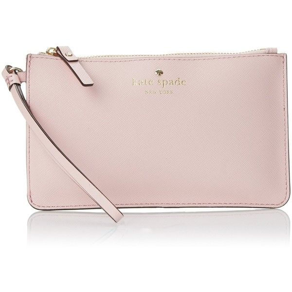 kate spade new york Cedar Street Slim Bee Wristlet ($68) ❤ liked on Polyvore featuring bags, handbags, clutches, kate spade, wristlet handbags, kate spade wristlet, pink purse and pink wristlet