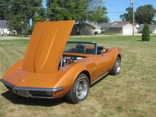 1971 Chevy Corvette for sale (WI) - $28,500 '71 Corvette Roadster 350 Engine with 4 Speed Transmission This rare Ontario Orange Corvette Roadster is a well-detailed frame on restoration that retai