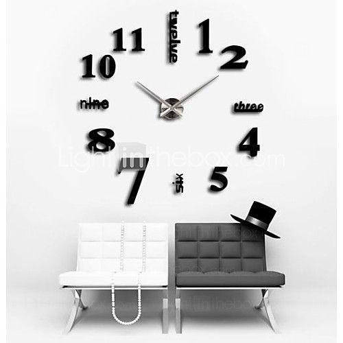 """39""""W DIY 3D Sticker Wall Clock   LightInTheBox"""