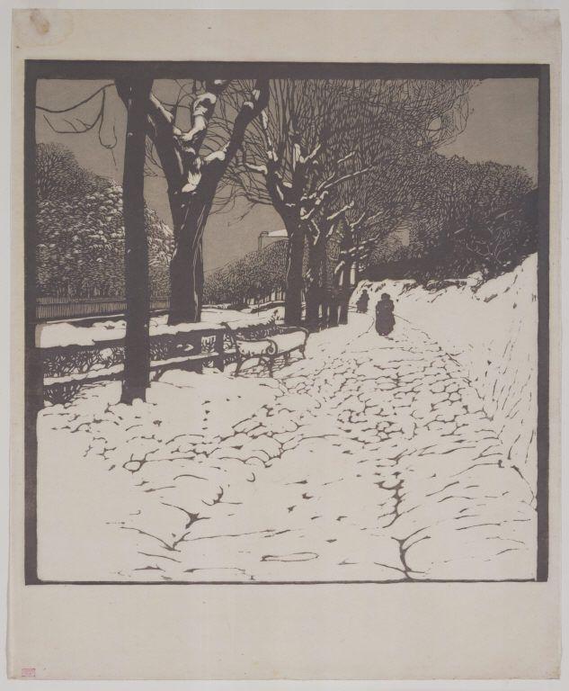 Winter (Hohe Warte in Vienna) - woodcut 1903 - Carl Moll (1861-1945, Austrian)