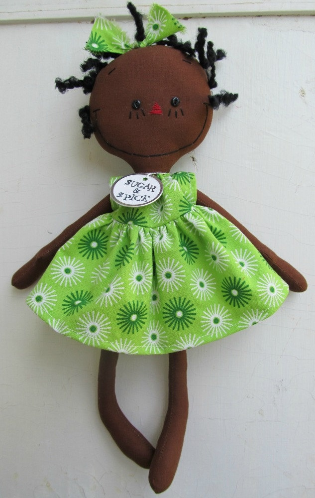 cloth rag doll African American handmade Olivia in Green. $30.00, via Etsy.