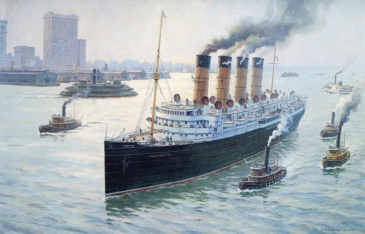 RMS Mauretania steams up the Hudson River in the fall of 1912 after another Atlantic crossing. (artist: William Muller)