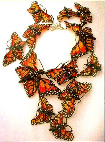 Monarch Beaded Butterfly necklace by Huib Petersen. Love his work.