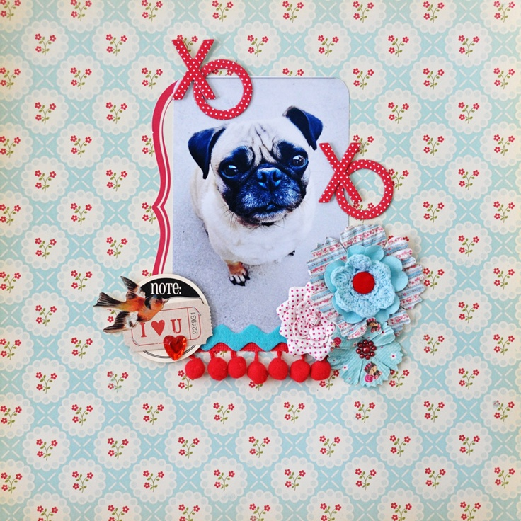 Xoxo layout: Dogs Layout, Pictures Scrapbook Layout, Scrapbook Layouts, Dogs Scrapbook Layout, Colors Combinations, Awesome Scrapbook, Backgrounds Fabrics, Adorable Layout, Colors Coordinating