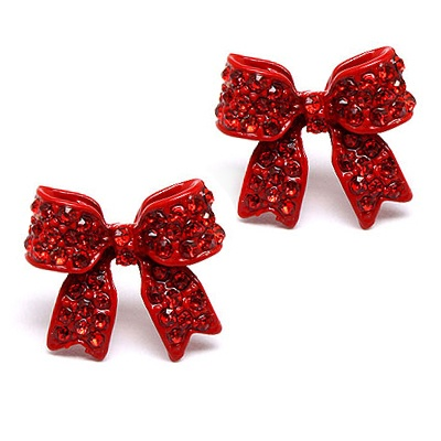 Every girl needs a pair of christmasy⇜Red⇝ bow earrings