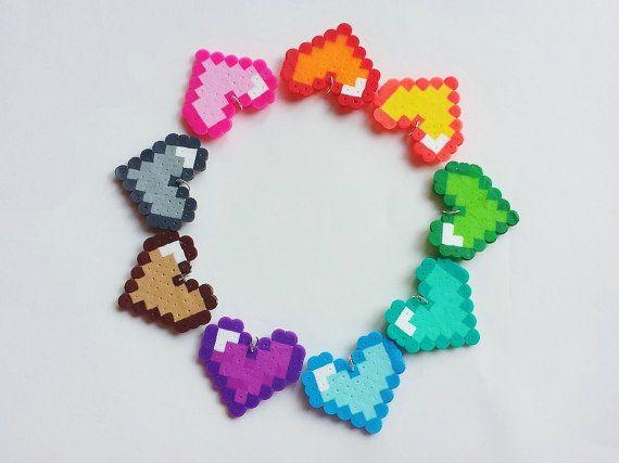 Heart Perler Charms, make your own, DIY, do it yourself, you choose colors, pendants, kawaii, kandi, perler beads
