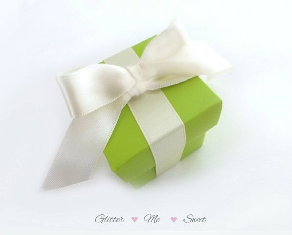 Wedding Favor Box  Lime Green Decor  Spring by GlitterMeSweet