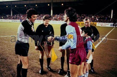 Aston Villa 1 Juventus 2 in March 1983 at Villa Park. The captains, Dino Zoff and Dennis Mortimer, meet before the European Cup Quarter Final, 1st Leg.