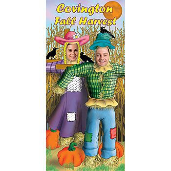 The Scarecrow Photo Stand In is a a fun fall activity and is perfect for pictures. Each scarecrow photo op is 34 inch wide x 74 inch high and is made of sturdy cardboard.