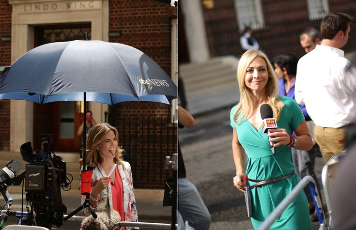 Kate's royal baby, which will be heir to the throne regardless of its gender, has attracted news teams from around the world.  Natalie Morales (pictured left) takes a moment between presenting for NBC and the Today Show and another news anchor broadcasts to Sky in Italy (pictured right).