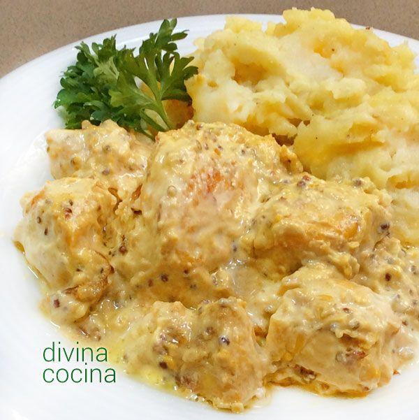 Esta receta de pollo a la mostaza es rápida y resultona. Se prepara en pocos minutos con unos trozos de pollo deshuesado (pechuga, contramuslos...) y una mostaza a tu gusto.