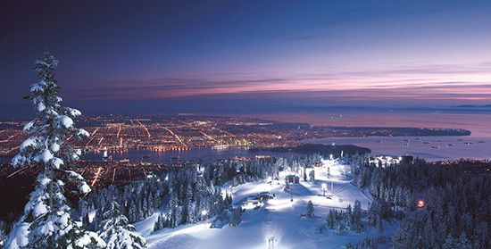 Grouse Mountain hosts an all-night party for 24 hours of winter - guided midnight snowshoe and a torch parade among many other activities