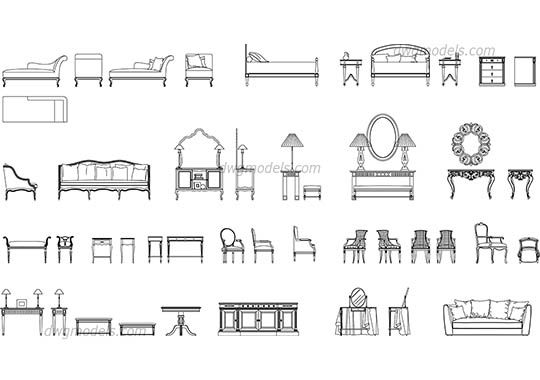 Classic Furniture Set Dwg Cad File Download Free