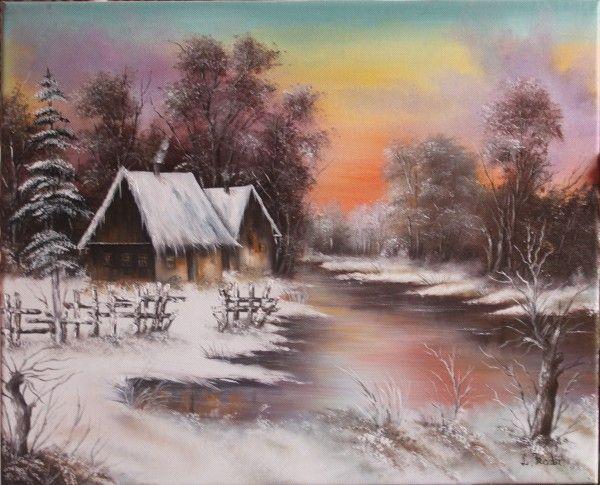 Amurg de iarna. Tablou de Radu Liliana