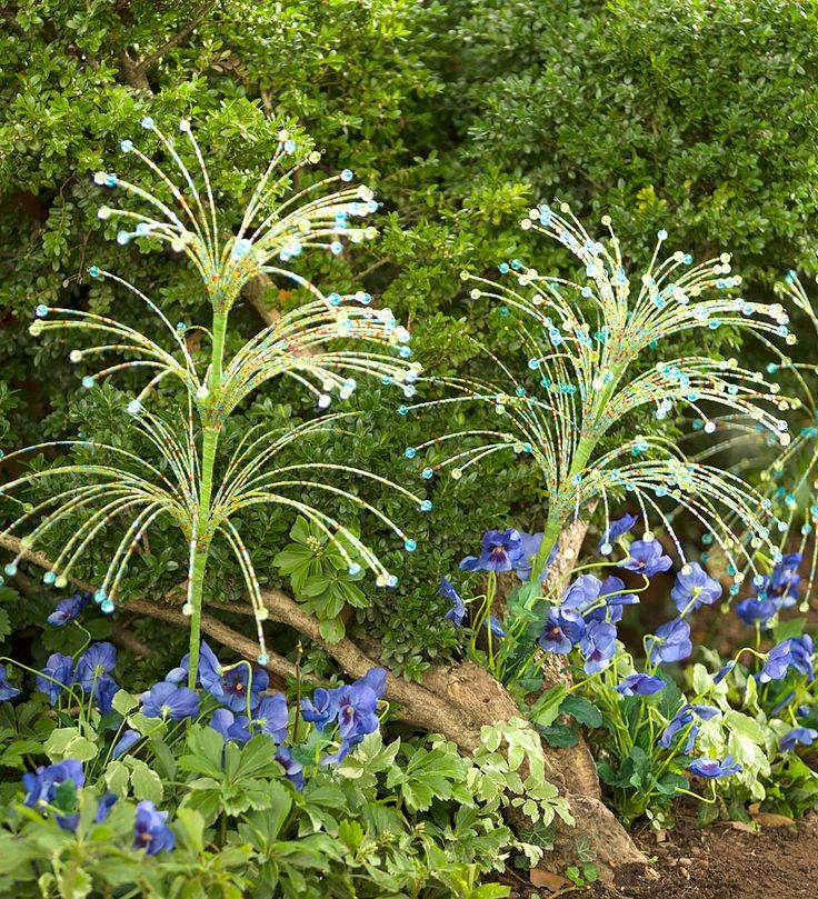 Glow In The Dark Beaded Garden Stakes, Set Of 2