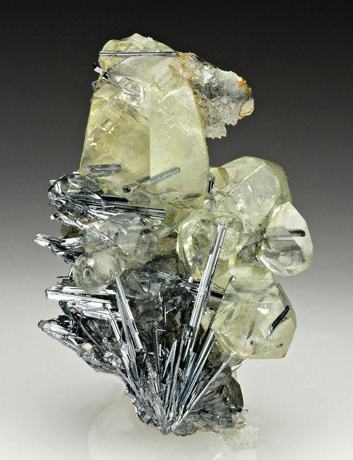 Calcite with Stibnite, Quartz