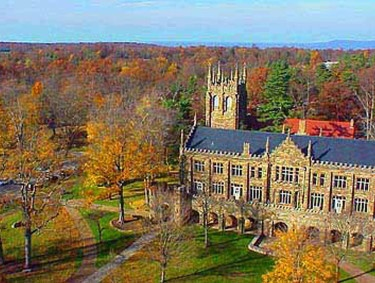 Sewanee:  The University of the South is a private coeducational liberal arts college located on Mounteagle Mountain in Swanee, Tennessee.  The college was blown up in 1863 by the Union Soldiers of the Civil War.  They started rebuillding in 1866 but still use the original date as July 4, 1857.  The buildings are made out of various materials and faced with local stone in the Gothic style.