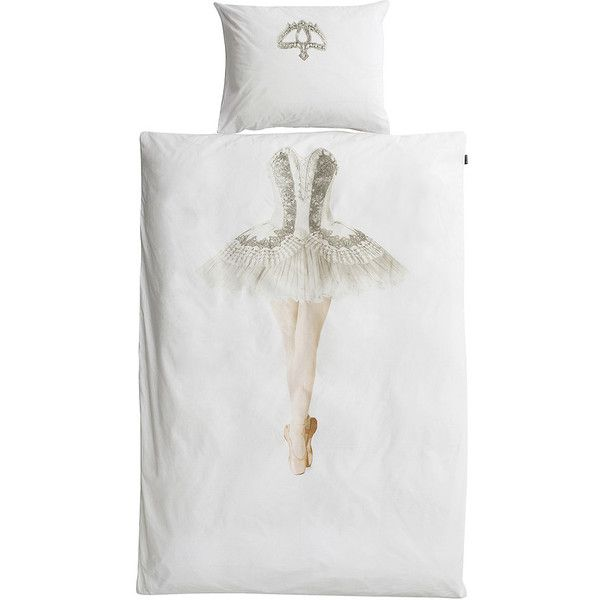 Snurk Ballerina Flannel Single Duvet ($71) ❤ liked on Polyvore featuring home, bed & bath, bedding, duvet covers, white pillow cases, white bed linen, white bedding, flannel duvet cover set and ballet bedding