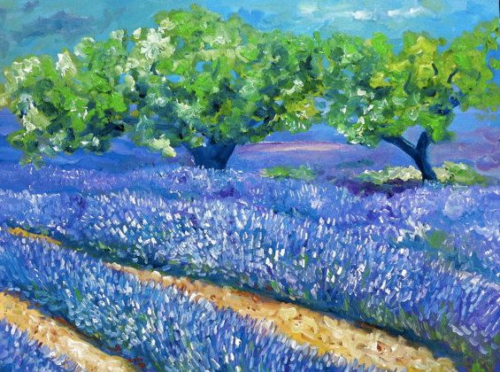 Lavenderfields in the Provence with Olive Trees - Nancy Van Den Boom