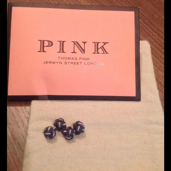 THOMAS PINK London women's cuff links PINK braided cuff links purchased in London at Jermyn Street Store. Comes with pouch as shown. Braided cuff links in light grey and dark grey. Fun/Polished accessory to add to button down shirts!!! Thomas Pink Accessories