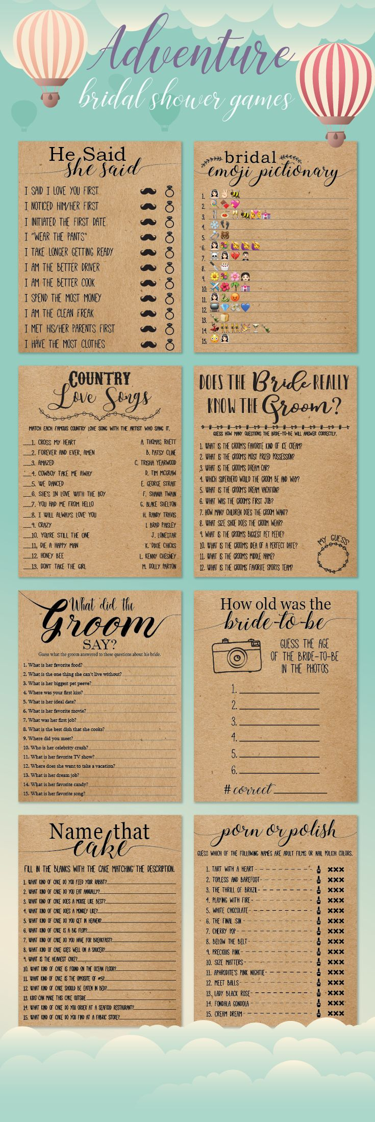 Bridal shower games that will go well