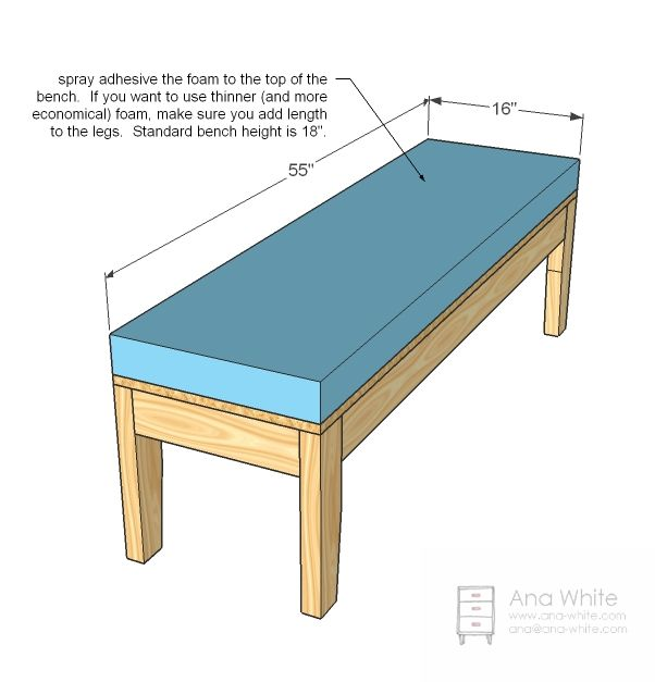 Ana White | Build A Easiest Upholstered Bench | Free And Easy DIY Project  And Furniture