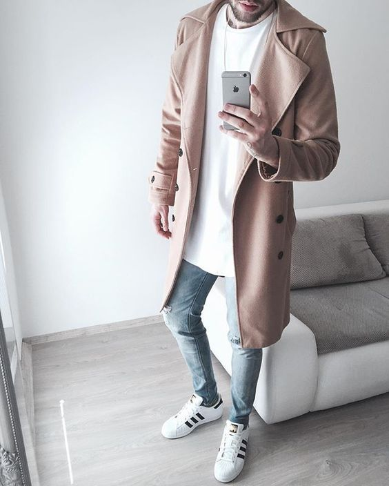 White sneakers outfit with tee & overcoat⋆ Men's Fashion Blog - TheUnstitchd.com