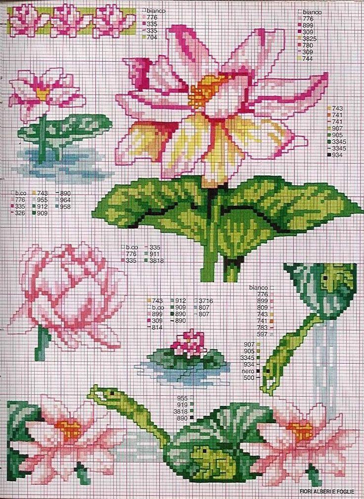цветы лотос схема вышивки крестом