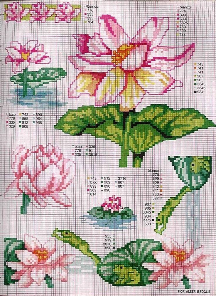 цветы лотос схема вышивки