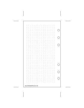 This daily planner page of dot grid paper goes on the left-hand side of your personal sized datebook. It is oriented vertically. The right-hand of this page is also available. Free to download and print