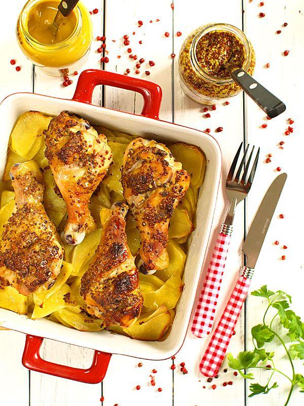 Kurczak w musztardzie i miodzie pieczony na ziemniakach