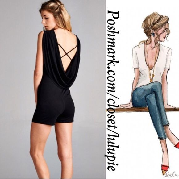Must Have Sexy Open Back Romper Dressy Open Back Romper! Perfect for any occasion day or night. Super soft material   95% Rayon 5% Spandex   True to size  Made in USA April Spirit Pants Jumpsuits & Rompers