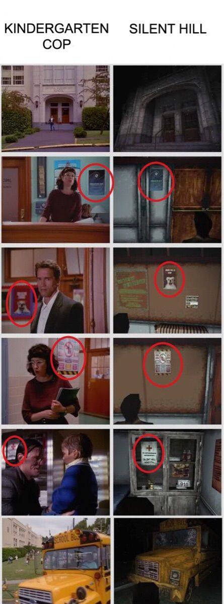 Silent Hill and Kindergarten Cop.......... What.........? How come I haven't seen the references?!