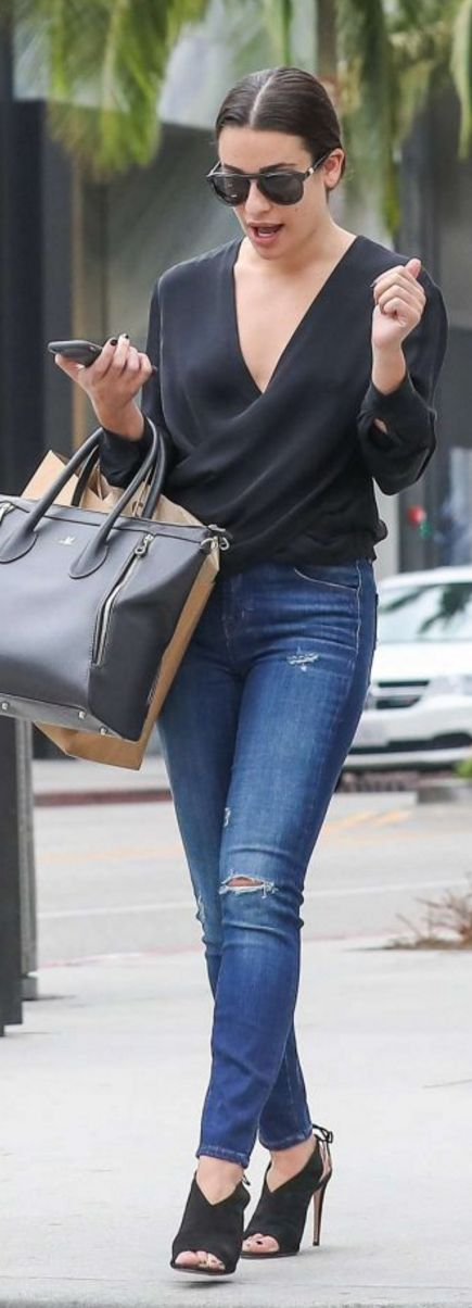 Lea Michele in Purse – Louis Vuitton  Shoes – Aquazzura  Sunglasses – Westward Leaning  Jeans – J Brand  Shirt – L'Agence