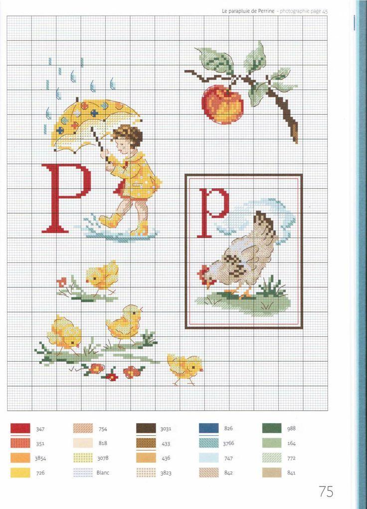 point de croix grille et couleurs de fils abecedaire enfants, lettre p
