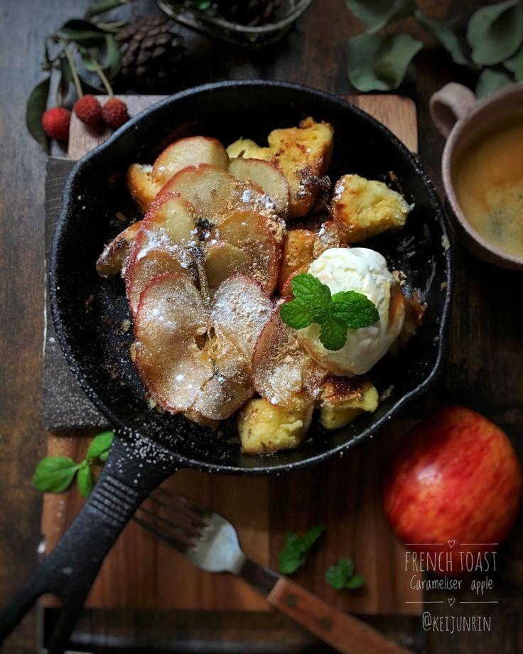 keijunrinさんのお料理キャラメリゼの焼きりんご のせ フレンチトースト #snapdish #foodstagram #instafood #homemade #cooking #料理 #おうちごはん #テーブルコーディネート #器 #暮らし #キャラメリゼ #焼きりんご #フレンチトースト #Apple #アップル https://snapdish.co/d/y0u9za