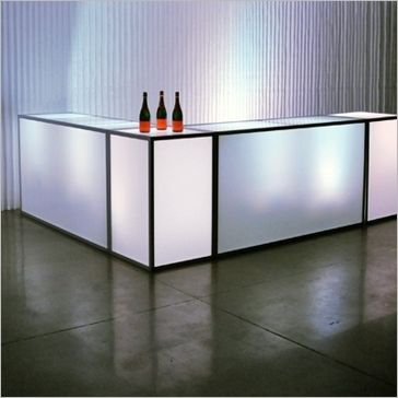 """tate bar and highboy features an aluminum frame with milk plexi inserts    tate bar can change inserts to black plexi.  24"""" D x 72"""" W x 40"""" H"""
