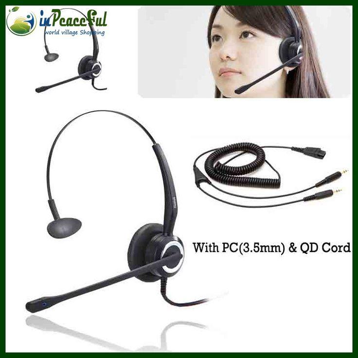 Профессиональный моно колл-центр компьютер VOIP / Skype звонки QD ( быстрого отсоединения / подключения ) гарнитуры, VOIP телефон с QD для пк ( 2 * 3.5 мм ) шнур