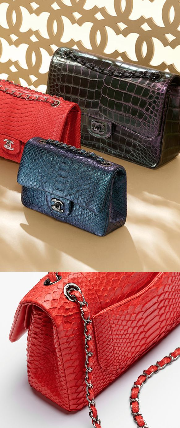 CHANEL 2015 Python classic flap bag & Alligator classic flap bag