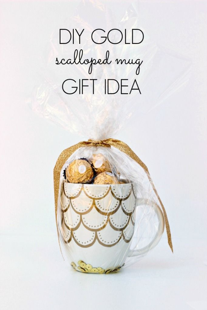Gold Sharpie Scalloped Mug - Such a cute gift idea! www.classyclutter.net