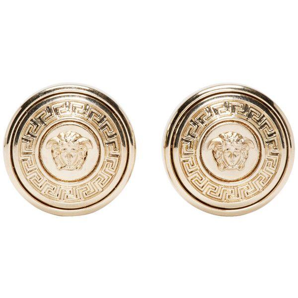 Versace Gold Medusa Stud Earrings (€215) ❤ liked on Polyvore featuring jewelry, earrings, round earrings, versace, versace earrings, gold tone jewelry and yellow gold earrings