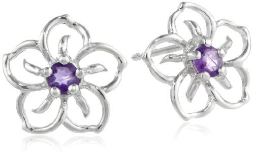 Sterling Silver and Amethyst Flower Earrings These timeless earrings are crafted from sterling silver and shaped into supple flower petals with a regal centerpiece of richly colored amethyst stones.. Amethyst is February's birthstone.. Gemstones may have been treated to improve their appearance or durability and may require special care.. Crafted in .925 sterling silver. Imported.  #Amazon_Curated_Collection #Jewelry