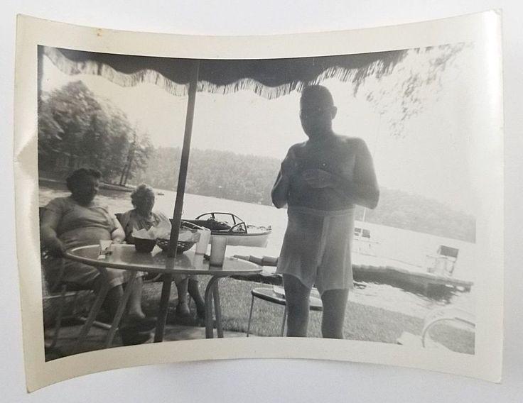 Snapshot Photograph Man Wearing Wet White Underwear Vintage Photo